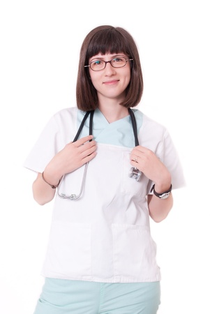 Young female doctor smiling in white uniform