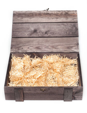 Empty wood gift box with straw