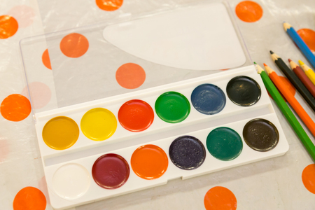 New colorful paint-box of watercolors for creative artist Stock Photo