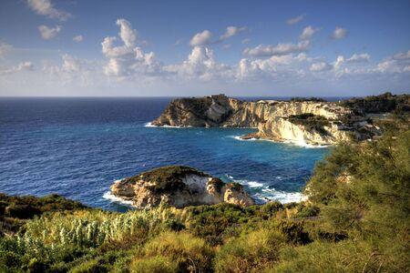 pontine: ponza, italy, mediterranean sea coast