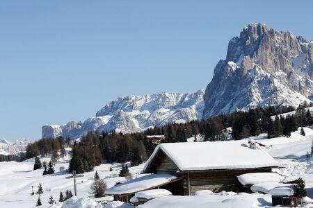 山の風景、雪、シャレー
