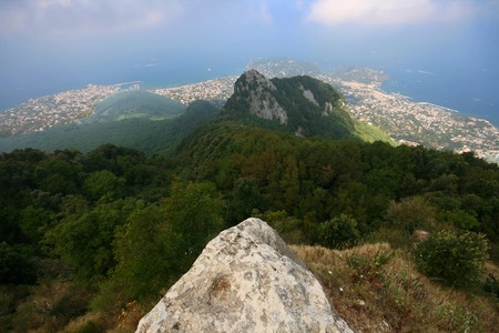 ischia, island in the mediterranean sea from the top of the mountain photo