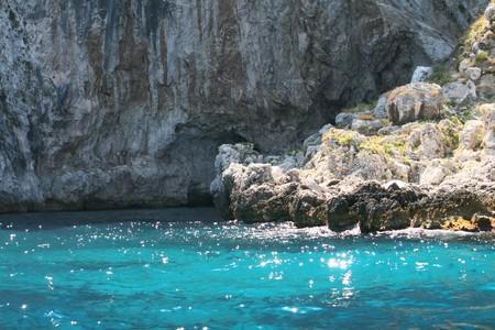 crystal sea in Capri, italy Imagens