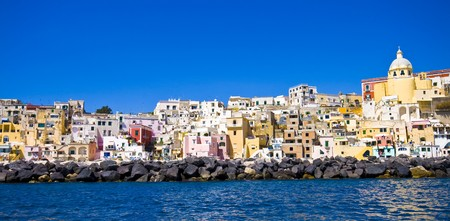 italian sea coast, panorama of procida, island near naples Stok Fotoğraf