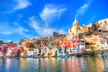 mediterranean houses: Beautiful island in the mediterranean sea coast, naples, italy Stock Photo