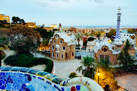 Barcelona, Park Guell, Spain, the modernism park designed by Antonio Gaudi, dusk Stock Photo