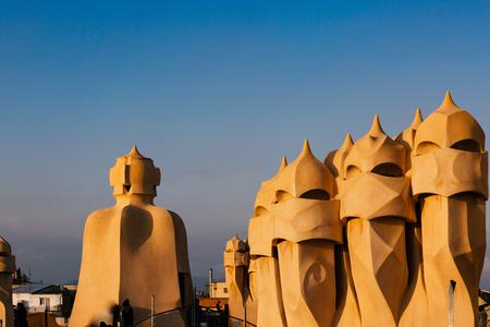 Barcelona, Spain, La Pedrera rooftop, designed by Antonio Gaudi Imagens