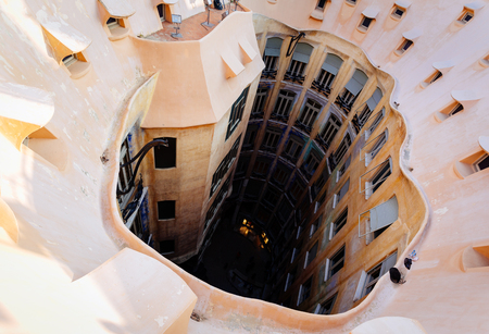 Barcelona, Spain, La Pedrera rooftop, designed by Antonio Gaudi Stock Photo