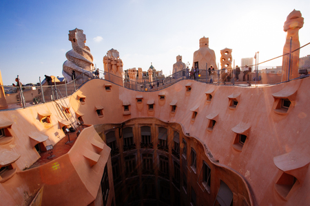 Barcelona, Spain, La Pedrera rooftop, designed by Antonio Gaudi Stock fotó