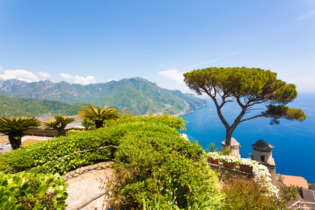 Ravello, Amalfi Coast, Sorrento, Italy. View of the coastline from Villa Rufolo