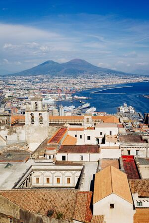 Naples, Vesuvius and buildings from San Martino. Campania, Italy Editöryel