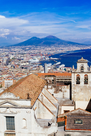 Naples, Vesuvius and buildings from San Martino. Campania, Italy Imagens
