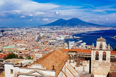 Naples, Vesuvius and buildings from San Martino. Campania, Italy Stock Photo