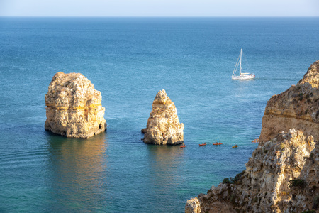 algarve, kayak and seascape. portugal 版權商用圖片