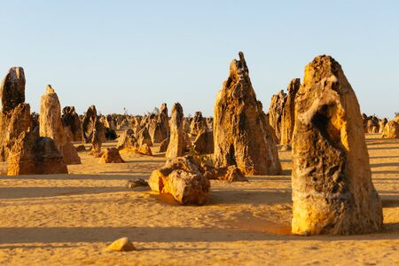 The Pinnacle Desert at sunset, limestone formations within Nambung National Park, near the town of Cervantes, Western Australia