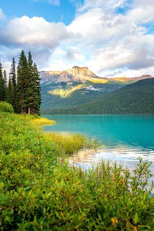 Belle réflexion au lac Emerald dans le parc national Yoho, en Colombie-Britannique, dans l'ouest du Canada Banque d'images