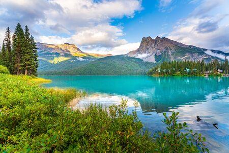 Beautiful reflection at Emerald Lake in Yoho National Park, British Columbia, Western Canada