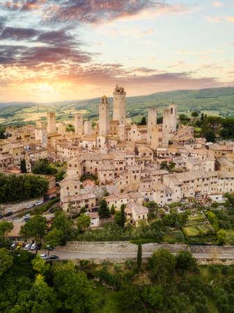 San Gimignano, medieval town from above. Tuscany, Italy Stockfoto