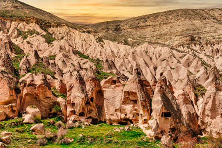 Zelve, Cappadocia, Nevsehir Province, Central Anatolia, Turkey. Sunset