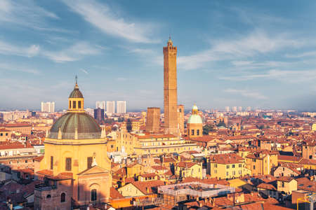 Bologna, cityscape at sunset from high point of view. Emilia Romagna, Italy. High quality photo