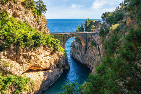 Furore Fjord and bridge, Amalfi Coast, Salerno, Italy
