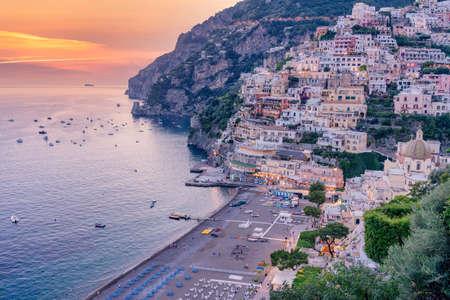 Sunset in Positano, Amalfi Coast, Salerno, Campania, Italy