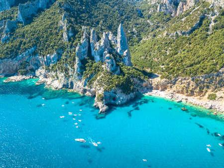 Cala Goloritze, Orosei Gulf, East Sardinia, Italy. Aerial view