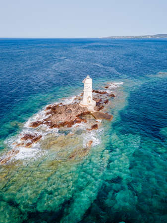 Mangiabarche Lighthouse, Sant Antioco, Sardinia, Italy. Aerial View