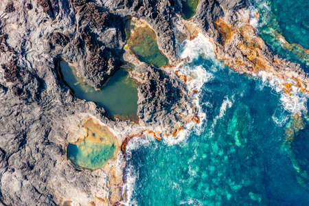 Aerial view Natural pool by the ocean, Mosteiros, Sao Miguel. Azores