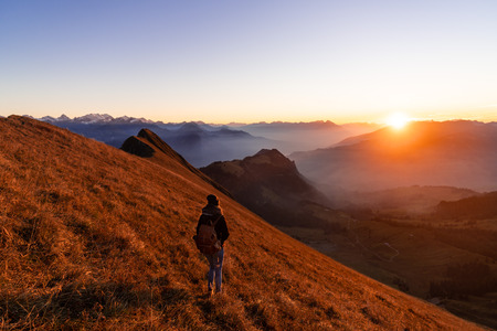 Panorama over the Swiss alps in the Bernese Oberland. Overlooking the scenery from the Augstmatthorn