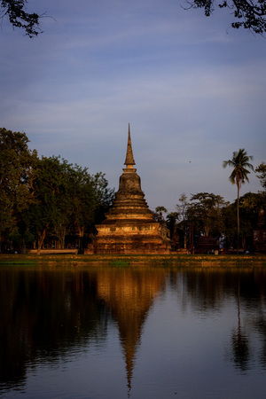 Beautiful  historic park in the middle of Thailand. Beautiful sunset in Thailand with nice reflection in the water.