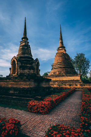 Temple complex in Sukothai, Thailand. Beautiful historic park in the middle of Thailand. Pagode in beautiful light