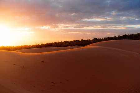 The red sand dunes in Mui ne, Vietnam is popular travel destination with long coastline.