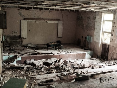 Pripyat city of ghost and playground abadoned cars. Famous Music School 版權商用圖片