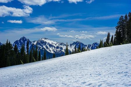 눈이 푸른 하늘과 부정적인 공간으로 산 꼭대기에 올랐다.
