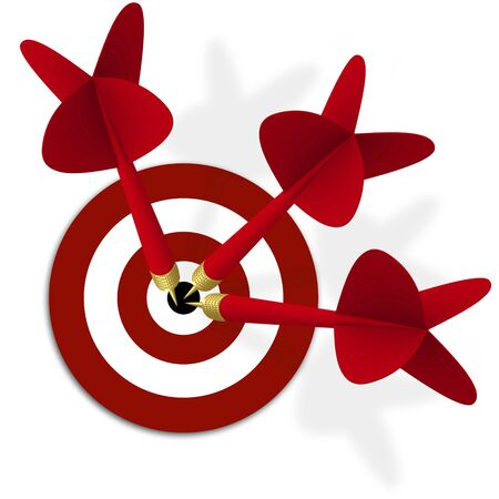 Target with three red darts in center photo