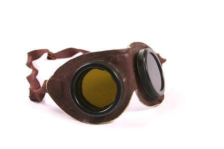 protecting spectacles: Brown retro leather goggles