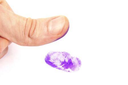 finger proof: Thumb and fingerprint Stock Photo