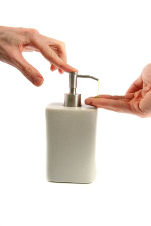 Antibacterial: Hand washing: applying liquid soap Stock Photo