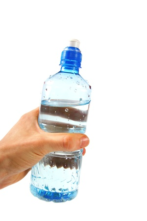 Water bottle in the hand photo