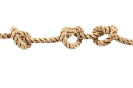 link up: Rope with three knots isolated on white