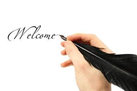pluma de escribir antigua: Escritura de texto con la pluma
