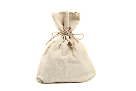 sack cloth: linen bag isolated on white Stock Photo