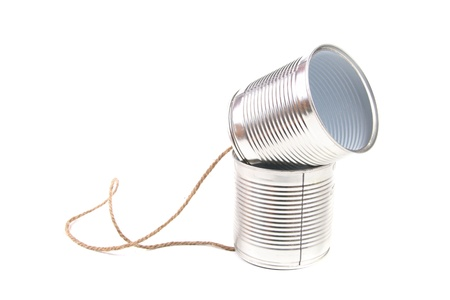 tin can phone: communication concept: tin can phone Stock Photo