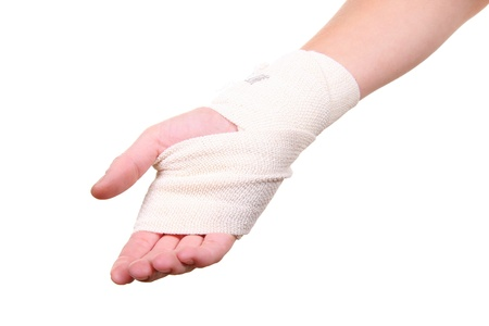 stretched: injured hand with bandage