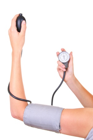 hand cuff: checking blood pressure