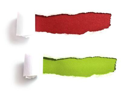 paper curl: Rasg� el papel con fondo rojo y verde