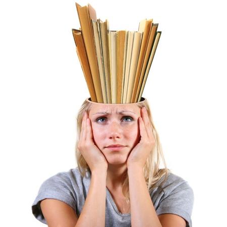 Knowledge concept. head full of books photo