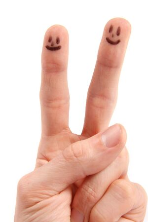 Hand with smileys on fingertips photo