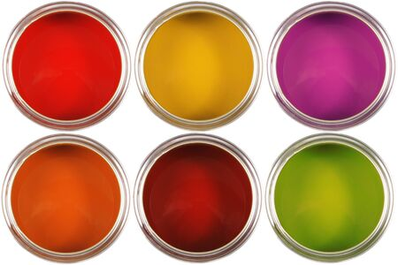 Colorful paint buckets photo